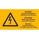 """Aufkl.  """"Blitz """", gelb, mit Text (1Bogen=10St)  """"Achtung... """""""