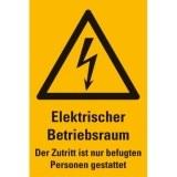 """Aufkleber Blitz gelb 300x200mm  """"Elektrischer Betriebsraum """""""