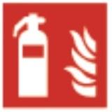 Aufkleber, rot, 148x148mm Feuerlöscher