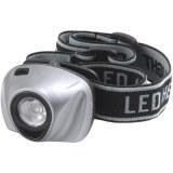 Kopflampe m. 1 weißen PowerLED 1W, grau/schwarz mit Batterien