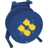 Kunststoff-Leertrommel blau mit 4 gelben Schuko-Steckdosen