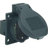 Maschinen-Steckdose, schwarz Schutz-Kontakt 230V, Anschluß
