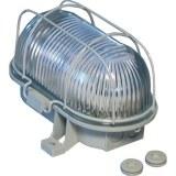 Oval-Leuchte 60W, E 27, grau m. Drahtkorb u. 1Tüllen, IP44