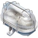 Oval-Leuchte 60W, E 27, grau mit Drahtbügel verzinkt, ENEC