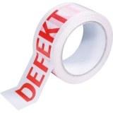 """PVC-Klebeband  """"DEFEKT """", weiß Schrift rot, 50mm breit, 66m"""
