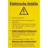 """PVC-Schild, gelb, 300x200mm,  """"Elektrische Unfälle """""""