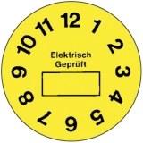"""Prüfplakette  """"Elektrisch ge- prüft """",gelb, Ø35mm,1 BO=5 Stk."""