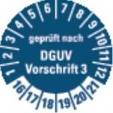 Prüfplakette  geprüft, DGUV V3 16-21,blau,Ø20mm(Bogen=10)
