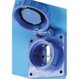 Schutzkontakt-Flanschsteckdose druckwasserdicht, blau