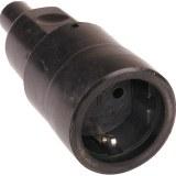 Schutzkontakt-Kupplung Vollgummi, Farbe: schwarz