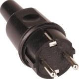 Schutzkontakt-Stecker Vollgummi Farbe: schwarz