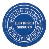 """gedenkplaat  """"elektr. gekeurd """" 15-20, blauw, Ø20mm, (boog=10)"""